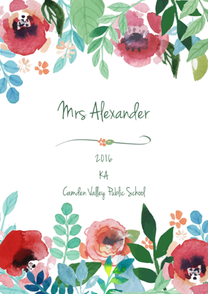 Front Cover - Hand painted flowers