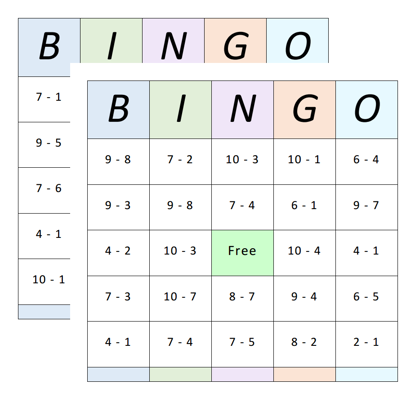 Bingo Cards - Subtraction - 1 to 10