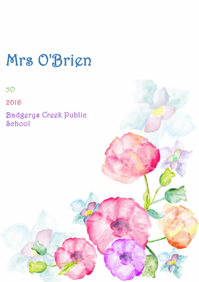 Front Cover - Watercolour Flowers
